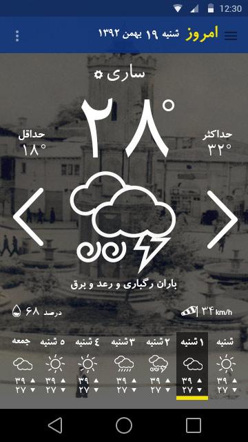 هوای شهر ساری در نرم افزار تلگراف